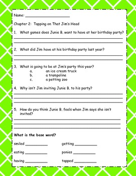 Junie B. Jones and That Meanie Jim's Birthday Comprehension Questions