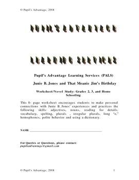 Junie B. Jones and That Meanie Jim's Birthday Worksheet