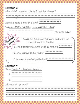 Junie B. Jones and a Little Monkey Business #2 comprehension and grammar packet