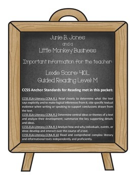 Junie B. Jones and a Little Monkey Business (Reading Contract & Activity Packet)