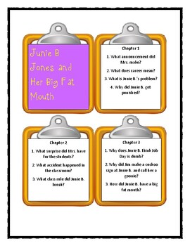 Junie B. Jones and her Big Fat Mouth - Discussion Cards