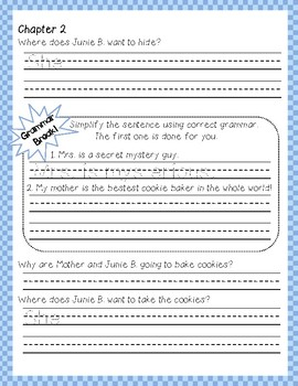 Junie B. Jones and some Sneaky Peeky Spying #4 comprehension and grammar packet