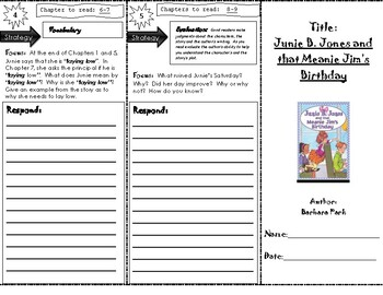 Junie B. Jones and that Meanie Jim's Birthday Trifold