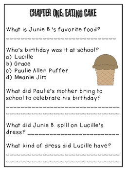 Junie B. Jones and that Meanie Jim's Birthday Response Notebook (20 pages)