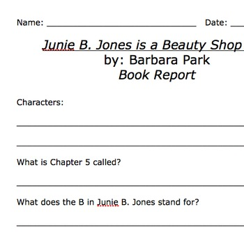 what is a beauty shop - Junie B. Jones is a Beauty Shop Guy Comprehension Packet by Julie ...