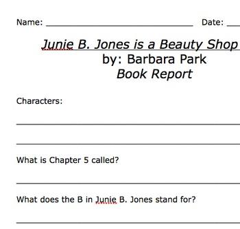 Junie B Jones and the Beauty Shop Guy Comprehension Worksheet