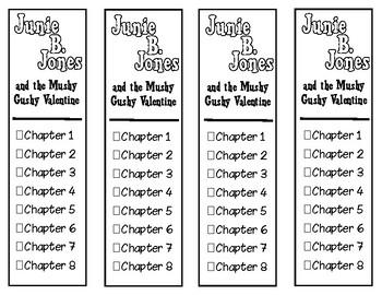 Junie B. Jones and the Mushy Gushy Valentine Chapter Checklist Bookmarks