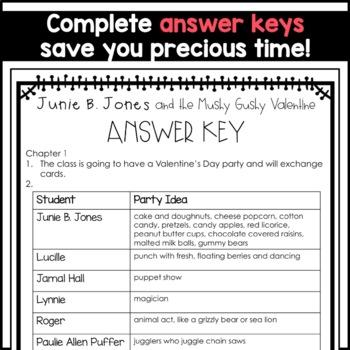 Junie B. Jones and the Mushy Gushy Valentine: Complete Unit of Reading Responses