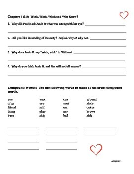 Junie B Jones and the Mushy Gushy Valentine Comprehension Packet