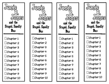 Junie B. Jones and the Stupid Smelly Bus Chapter Checklist Bookmarks