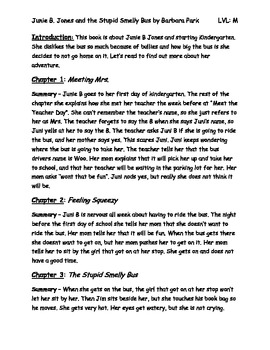 Junie B. Jones and the Stupid Smelly Bus Chapter Summaries