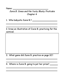 Junie B. Jones and the yucky blucky fruitcake comprehension questions