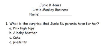 Junie B Jones comprehension quizzes