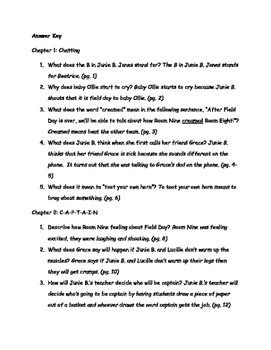 Junie B. Jones is Captain Field Day #16 by Barbara Park Comprehension Packet