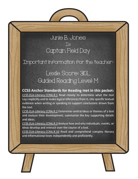 Junie B. Jones is Captain Field Day (Reading Contract & Activity Packet)