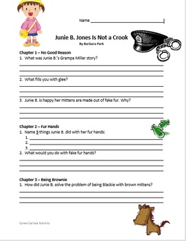 Junie B. Jones is Not a Crook - Question and Answer Sheets