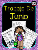 Junio: June math, literacy and craft packet in Spanish; Summer Review Packet