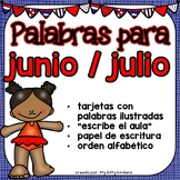 June and July Vocabulary Words in SPANISH - Junio y Julio
