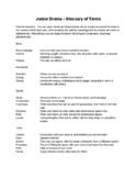 Junior Drama - Glossary of Terms