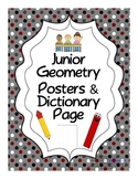 Junior Geometry Posters & Dictionary Page (angles, polygon