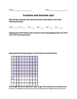 Junior Grade - Fractions and Decimals Assessment