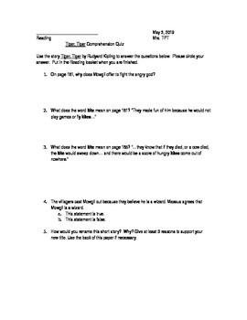 Junior Great Books: Tiger Tiger Comprehension Quiz