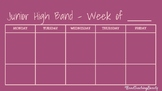 Junior High Band Weekly Plan