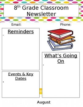 Junior High High School Newsletter Template By Sarah Schomaker S