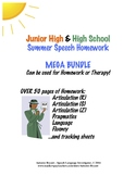 Junior High/High School Summer Speech/LANGUAGE Homework Deluxe