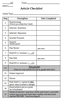 Junior High Journalism Writing Workshop Forms