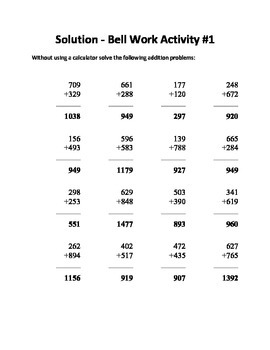 Junior High Math Bell Work - 125 Questions and Answers by John E Westers
