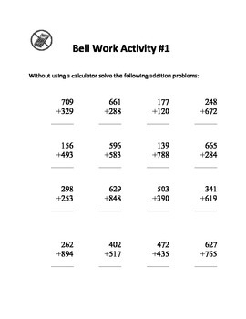Junior High Math Bell Work - 125 Questions and Answers