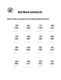 Junior High Maths Bell Work - 3 Questions and Answers