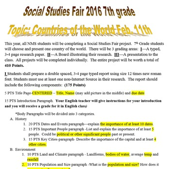 Junior High Social Studies Fair