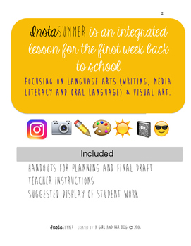 Junior/Intermediate Back to School Resource - InstaSUMMER - Visual Art & Writing
