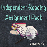 Independent Reading Novel Assignment Pack Grades 6-8 (Summary, Character, Theme)