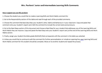 Junior/Intermediate Ontario Learning Skills Report Card Comment Bank