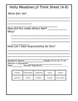 Junior & Intermediate Think Sheet