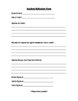 Junior/ Intermmedaite Incident Reflection Form