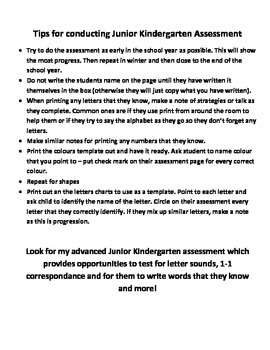 Junior Kindergarten Assessment - letters numbers colours s