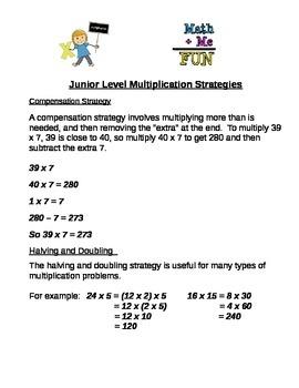 Junior Level Mulitplication Strategies