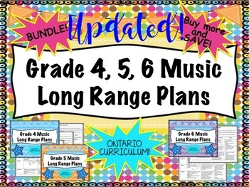 Junior Music Long Range Plans Grades Four, Five, Six (Ontario Curriculum Based)