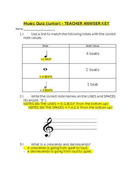 Junior Music Quiz and Answer Key