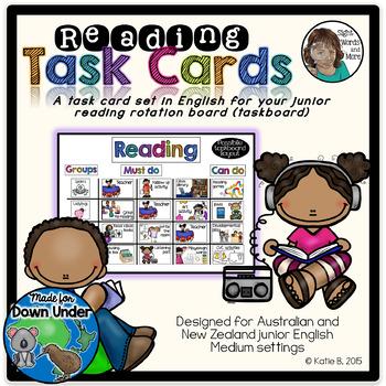 Junior Reading Task Cards for Downunder