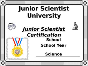 Junior Scientist Certificate