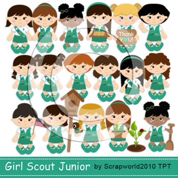 Junior Scout girls clipart NEW+paper