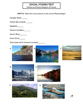 Junior Social Studies Test  - Political and Physical Regions of Canada