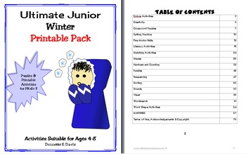 Junior Winter Printable Vocabulary Worksheet & Puzzle Pack