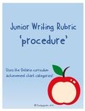 Junior Writing Rubric - Procedure