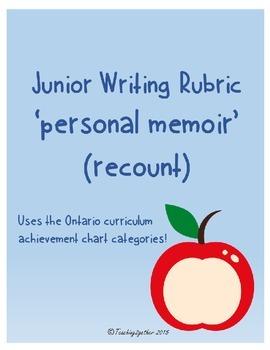 Junior Writing Rubric - Personal Memoir (recount)